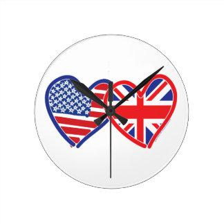 American Flag Union Jack Flag Hearts Clocks