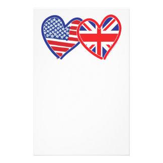 American Flag Union Jack Flag Hearts Customised Stationery