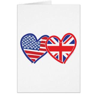 American Flag Union Jack Flag Hearts Greeting Card
