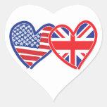 American Flag/Union Jack Flag Hearts Heart Sticker