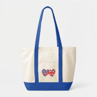American Flag/Union Jack Flag Hearts Impulse Tote Bag