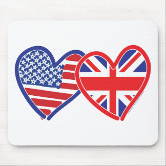 American Flag/Union Jack Flag Hearts Mouse Mat