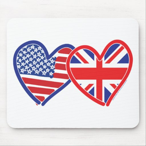 American Flag Union Jack Flag Hearts Mouse Pads