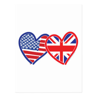 American Flag Union Jack Flag Hearts Post Cards