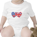 American Flag/Union Jack Flag Hearts Romper