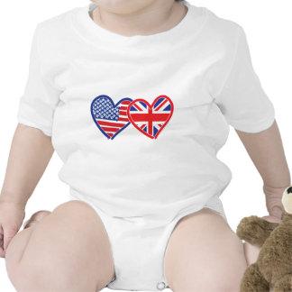 American Flag Union Jack Flag Hearts Romper
