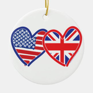 American Flag Union Jack Flag Hearts Round Ceramic Decoration
