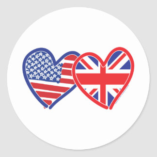 American Flag Union Jack Flag Hearts Round Sticker
