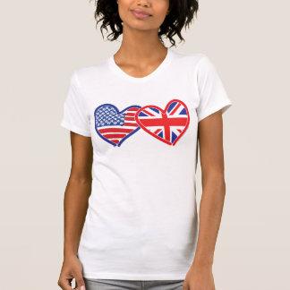 American Flag Union Jack Flag Hearts Shirt