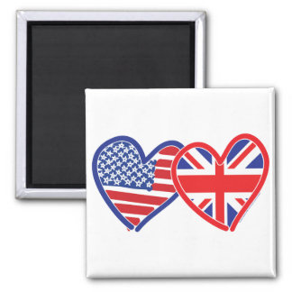 American Flag/Union Jack Flag Hearts Square Magnet