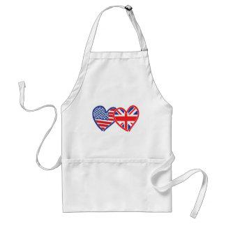 American Flag/Union Jack Flag Hearts Standard Apron
