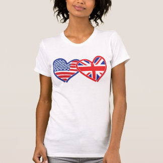 American Flag/Union Jack Flag Hearts T-Shirt