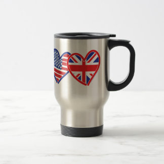 American Flag/Union Jack Flag Hearts Travel Mug