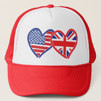 American Flag/Union Jack Flag Hearts Trucker Hat