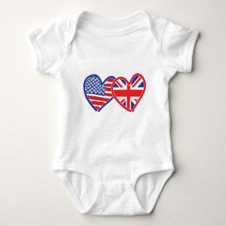 American Flag/Union Jack Flag Hearts Tee Shirt