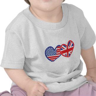 American Flag/Union Jack Flag Hearts Tshirts