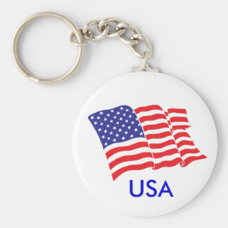 American-Flag USA Basic Round Button Key Ring
