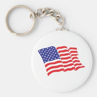 American Flag USA Basic Round Button Key Ring