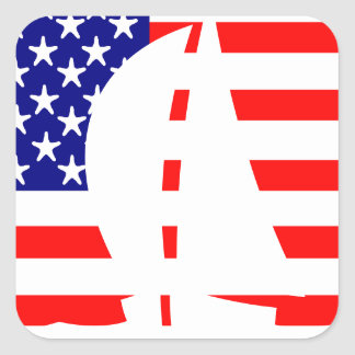 American Flag USA Nautical Sailing Yacht Square Sticker