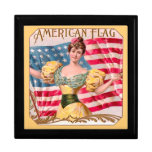 American Flag Vintage Advertising Trinket Box