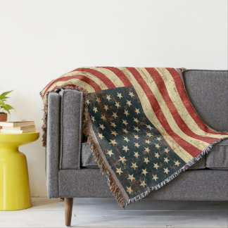 American Flag Vintage Distressed Throw Blanket