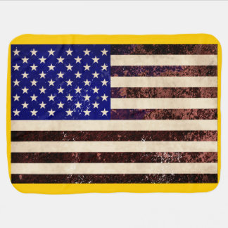 American Flag Vintage Grunge Baby Blanket