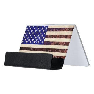 American Flag Vintage Grunge Desk Business Card Holder