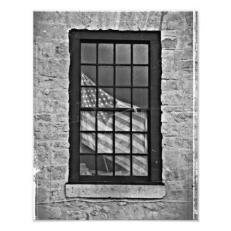 American Flag Vintage Print in Black and White Photographic Print