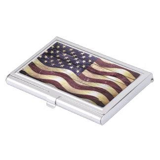 American Flag Vintage Wood Business Card Holder