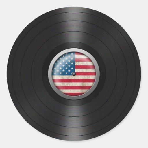 American Flag Vinyl Record Album Graphic Round Sticker