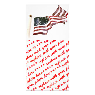 American Flag w/Crosses Personalized Photo Card