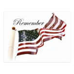 American Flag w/ Crosses - Remember The Fallen Postcard
