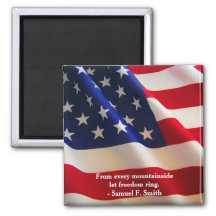 American Flag Wave Customisable Square Magnet