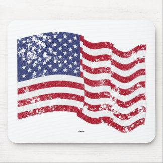 American Flag Waving - Distressed Mouse Mat