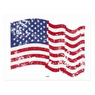 American Flag Waving - Distressed Postcard
