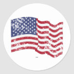 American Flag Waving - Distressed Classic Round Sticker