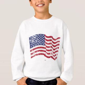 American Flag Waving - Distressed Sweatshirt