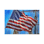 American Flag Waving In Wind Art Stretched Canvas Prints