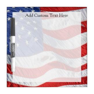 American Flag, Waving in Wind Dry Erase Board
