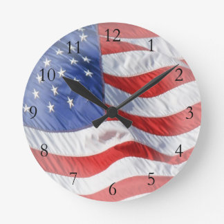 American Flag, Waving in Wind Wallclock