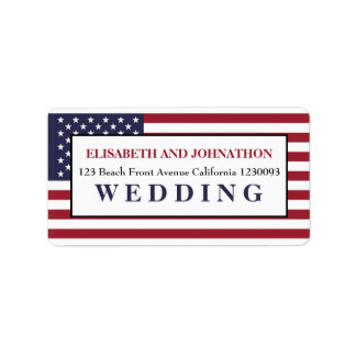 American Flag Wedding Address Label