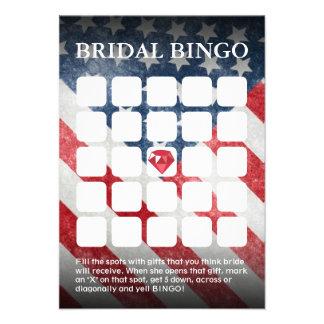 American Flag Wedding Bridal Shower Bingo Cards