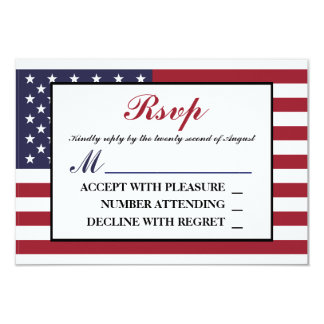 American Flag Wedding RSVP Card