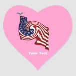 American Flag Whirlwind Flow Pink Heart Stickers