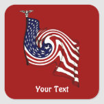 American Flag Whirlwind Flow Red Square Stickers