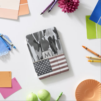 American Flag Winter Camo MonoGram iPad Mini Cover