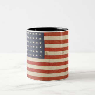 American Flag with 48 Stars Two-Tone Coffee Mug