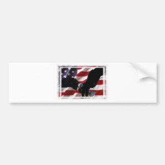 American Flag with American Bald Eagle Bumper Sticker
