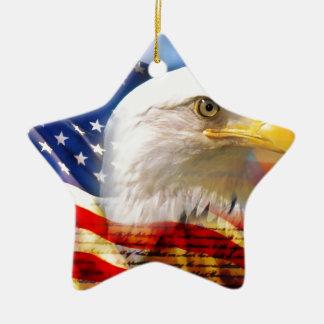 American Flag with Bald Eagle Christmas Ornament