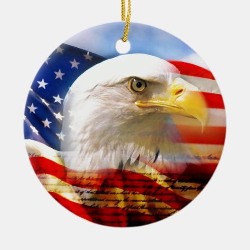 American flag with bald eagle double sided ceramic round